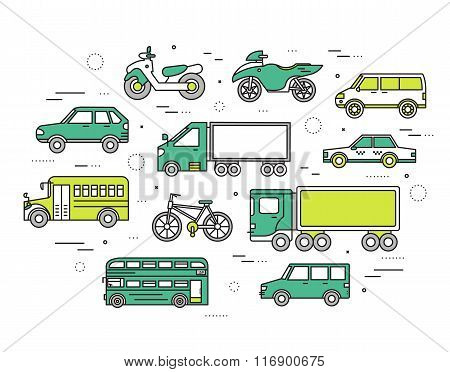 Transportation concept set icons illustration in thin lines style design. Tamplate for web and mobil