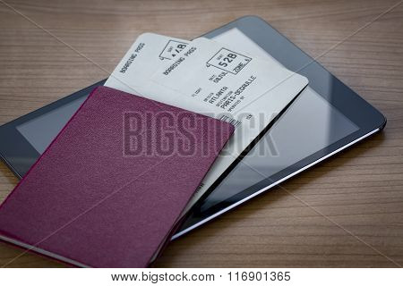 Neutral Passport With Tickets On Tablet