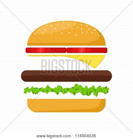 Hamburger ingredients meat, lettuce, cheese and tomato on white background. Fast Food Vector Illustr