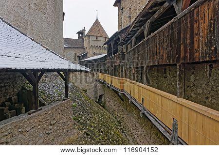 Inner Part Of Chillon Castle In Switzerland