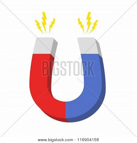 Blue and red horseshoe magnet, magnetism attraction. Flat design. Vector illustration.