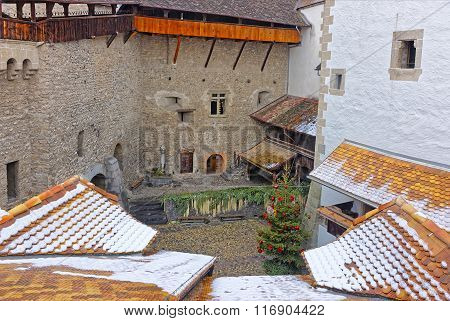 View From Chillon Castle Tower On Courtyard With Christmas Tree
