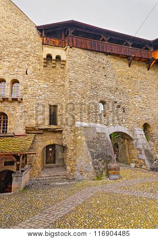 View To Courtyard Of Chillon Castle In Switzerland