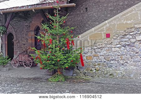 View To Inner Court Of Chillon Castle With Christmas Tree