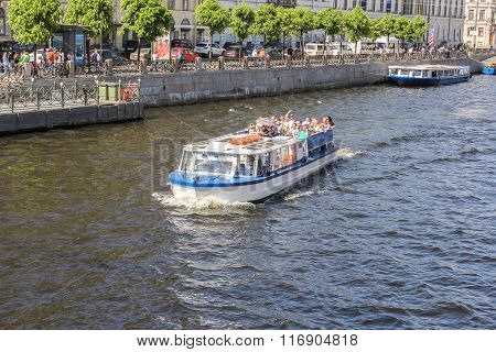 Tourists On A Pleasure Boat.