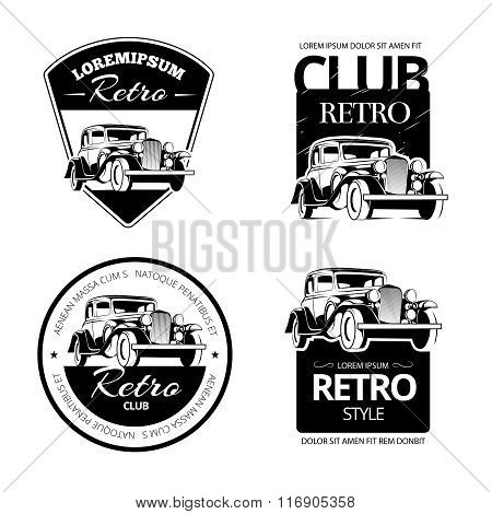 Classic muscle car vector labels, emblems and badges set