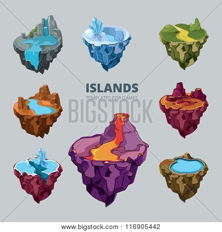 Isometric 3d set of flying islands