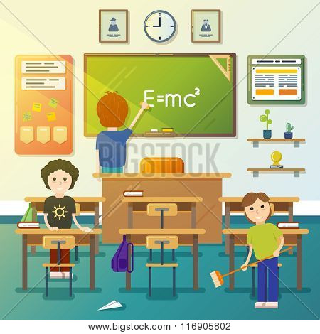 Kids cleaning classroom. Vector illustration