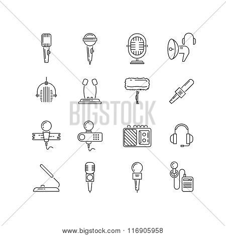 Microphone, speaker vector line icons