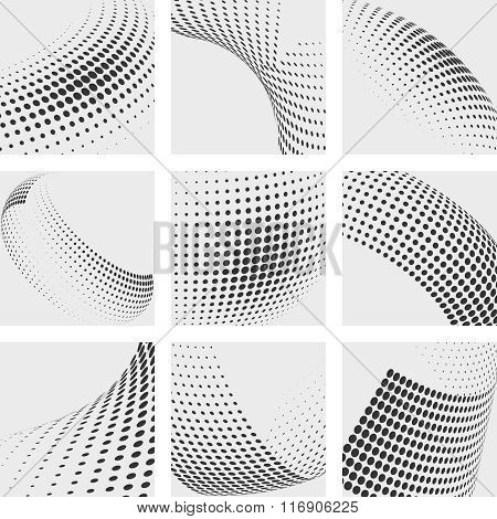 Halftone dots vector abstract backgrounds set