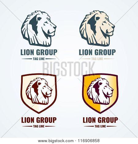 Vintage lion logotypes vector set