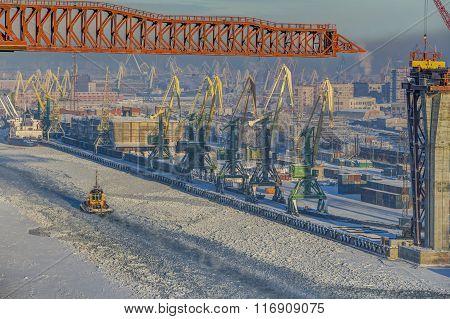 Top View Of Winter Sea Port Of Saint Petersburg, Russia.