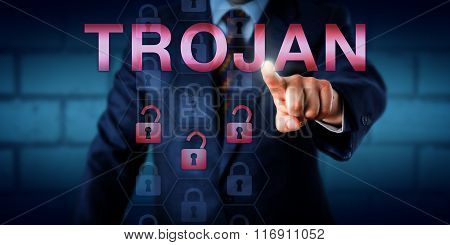 Cyber Security Professional Pressing Trojan