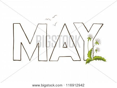 Vercor illustration of May month name. Lettering with dandelion. poster