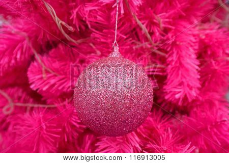 Pink Ball Decorated On Christmas Tree