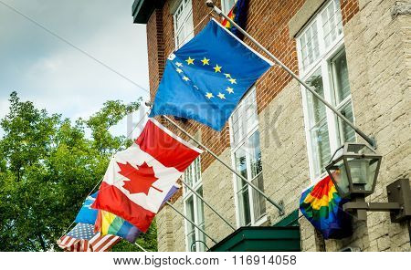 International flags welcome the world's visitors to the Quebec City World Heritage Site.