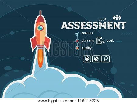 Assessment Concept On Background With Rocket.