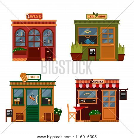 Vector illustration of buildings that are shops for buying drink.  Set of nice flat shops. Different