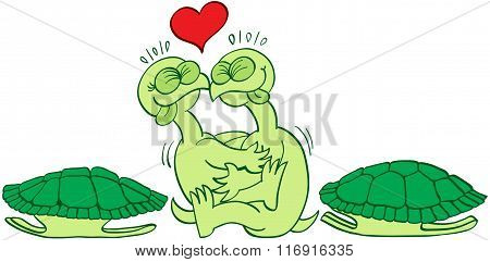 Naked turtles making love
