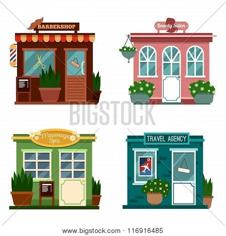 Vector illustration of buildings that are shops for services. Set of nice flat shops. Different Show