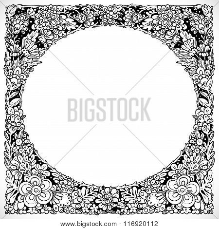 Round Decorative Frame From Imaginary Doodle Flowers Black And W