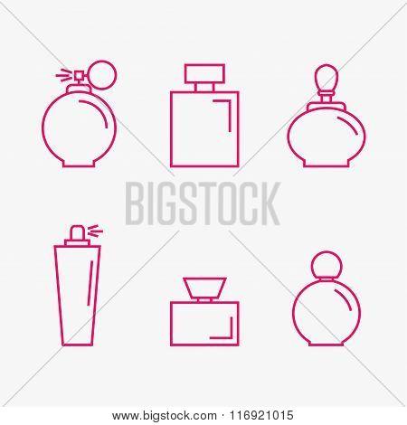 Perfume isolated icons on background.