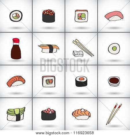 Sushi icons set. Hand-drawn collection of cartoon icons, japanese food -  soy sauce, chopsticks, nig