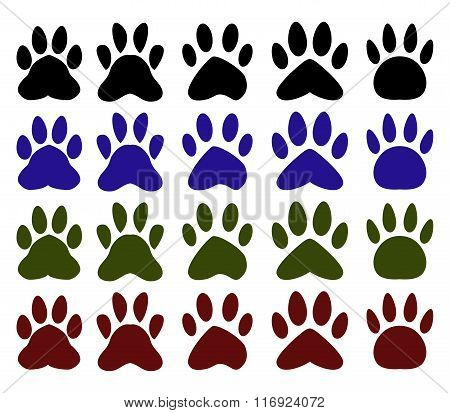 set of various pawprints of dogs and colorful illustrated