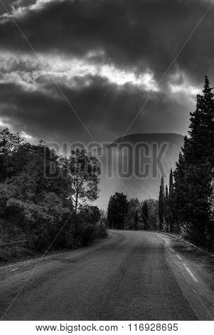 Black and white landscape in Crimea near Ayu-Dag mountain