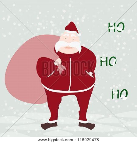 Santa Claus With Winter Background