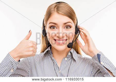 Cheerful Young  Agent Of Call Centre Gesturing