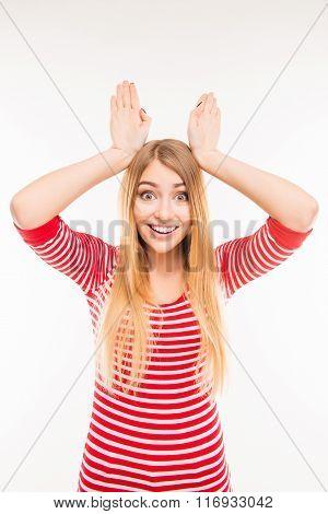 Cheerful Girl Holding Hands Like Ears