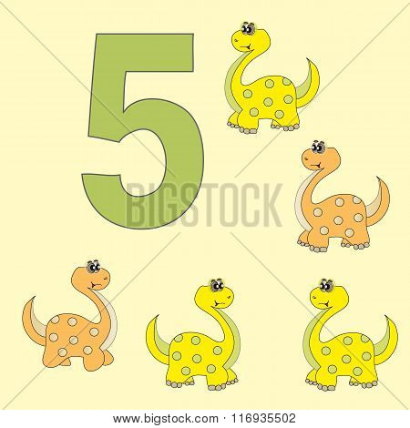 The Number 5. Five Dinosaurs (brachiosaurus ).