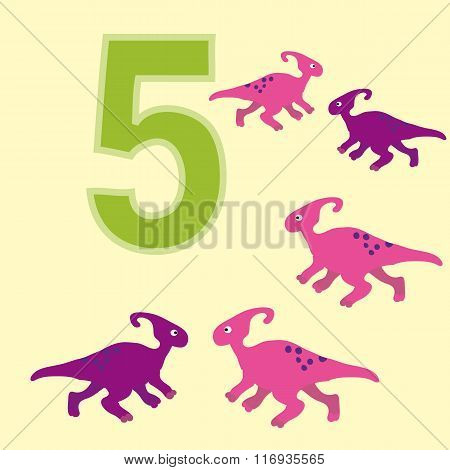 The Number 5. Five Dinosaurs (parasaurolophus).