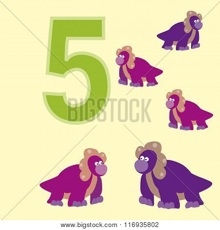 The Number 5. Five Dinosaurs (protoceratops ).