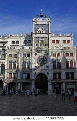 Venice, Italy - September 02, 2012: Clock On St Mark's Clocktower On St Mark's Square (piazza San Ma