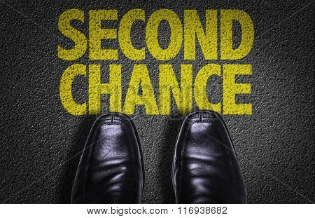 Top View of Business Shoes on the floor with the text: Second Chance