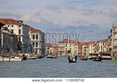 Venice, Italy - September 02, 2012: Grand Canal With Vaporetto Sea Tram And Gondolas