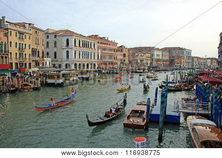 Venice, Italy - September 02, 2012: Historical Ships On Grand Canal  Taking Part In Regata Storica,