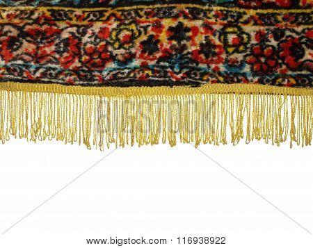 Part Of An Old Tablecloth With Fringe Isolated On White Background.