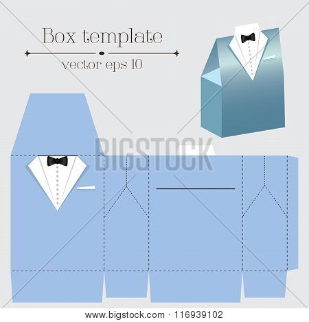 Vector Tuxado Box Template. Blue Color