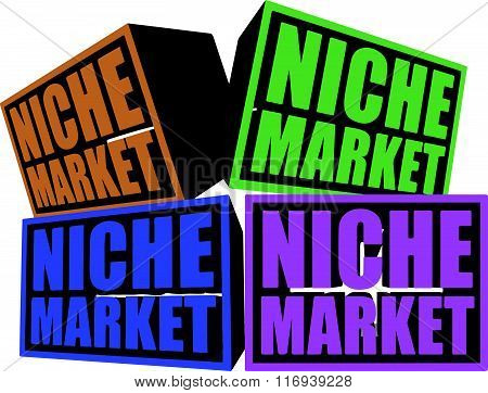 A conceptual illustration of Niche Markets with each block representing a particular niche market isolated on white background
