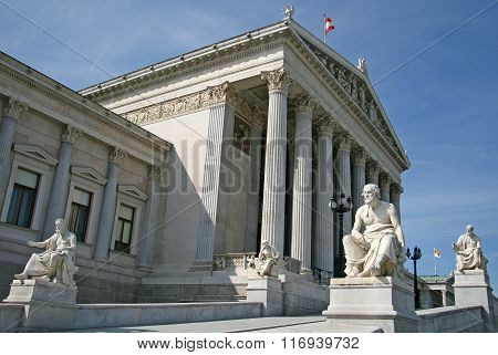 Vienna, Austria - April 22, 2010: Greek Philosophers Statues At Austrian Parliament Building