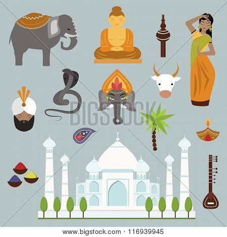 India landmark travel vector icons collection. Indian culture sign design elements. India travel time vector illustration