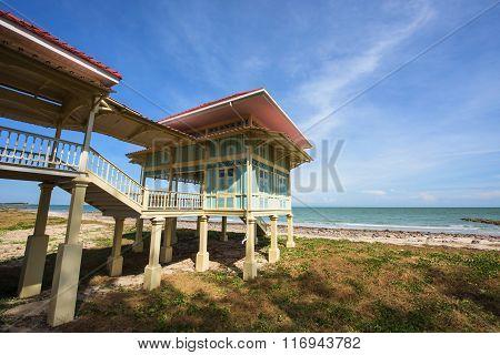 Wooden Building Near Beach Of Marukhathaiyawan Palace In Cha-am