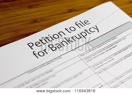 Government Form, Close up of bankruptcy petition poster