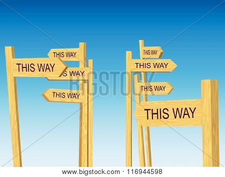Confusing directions road signs (Vector)