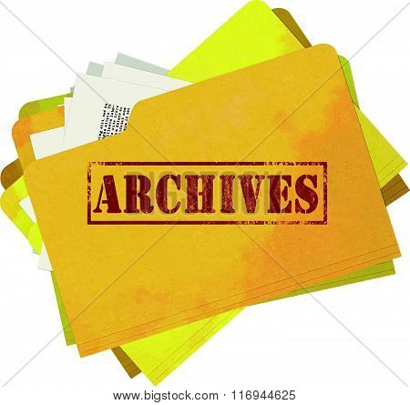 Old and Stained Archives File Folder Isolated on White Background