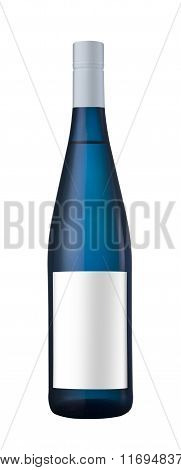 Blue Bottle Of Wine With Blank Label