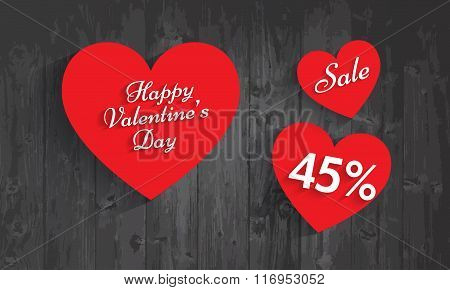 Valentine`s Day Sale, 45 Percent Discount. Vector Eps 10.